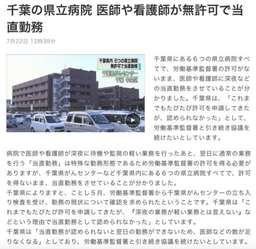 千葉の県立病院、意志や看護師が無許可で当直勤務